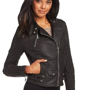 Kenneth Cole Rouched Hipster Leather Jacket
